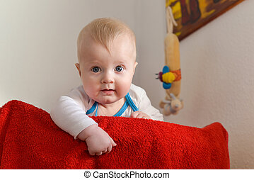 Portrait of a six month old baby boy