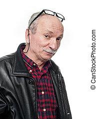 skeptical elderly man with glasses