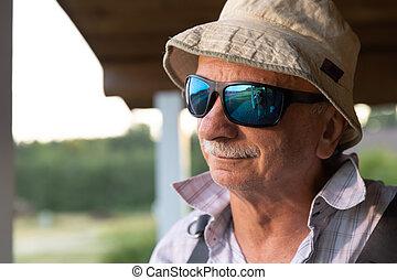 Portrait of a skeptical old man