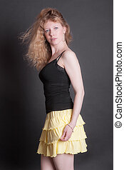girl in a yellow skirt