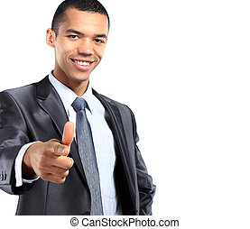 Portrait of a smiling African American business man gesturing a thumbs up sign on white background