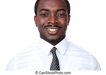 Portrait of a smiling african man over white background