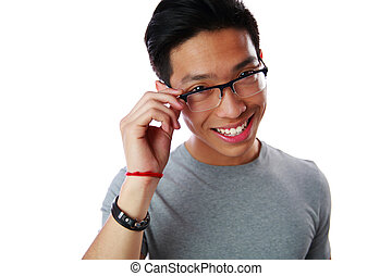Portrait of a smiling asian man over white background