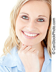 Portrait of a smiling blond woman looking at the camera ...