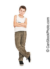 Portrait of a smiling boy isolated on white background