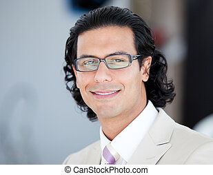 Portrait of a smiling businessman wearing glasses