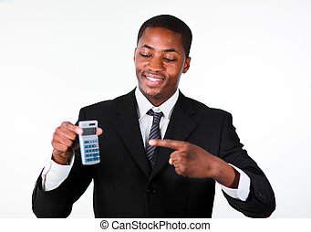 Portrait of a smiling businessman showing a calculator