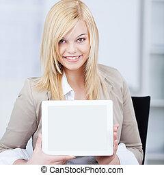smiling businesswoman displaying tablet-pc