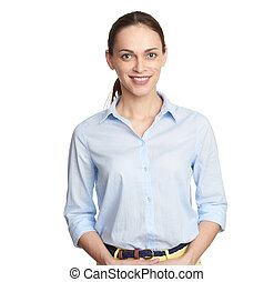 Portrait of a smiling businesswoman looking at camera isolated