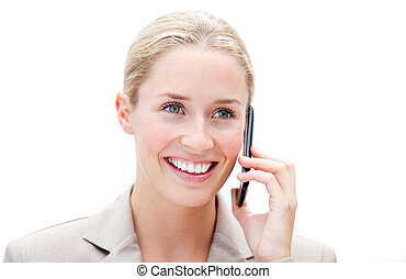 Portrait of a smiling businesswoman talking on phone against...