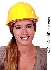 Portrait of a smiling female laborer