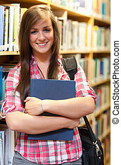 Portrait of a smiling female student posing