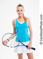 Portrait of a smiling female tennis player