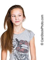 Portrait of a smiling girl with long hair