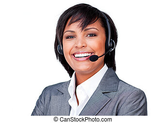 Portrait of a smiling hispanic businesswoman with headset on