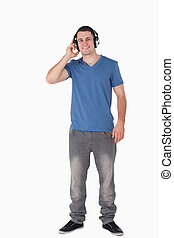 Portrait of a smiling man with headphones