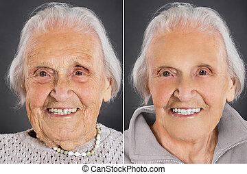 Portrait Of A Smiling Old Woman Over Grey Background