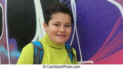 Portrait of a smiling preteen boy