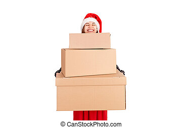 Portrait of a smiling pretty girl holding stack of big carton gift boxes. isolated on white background. holidays concept