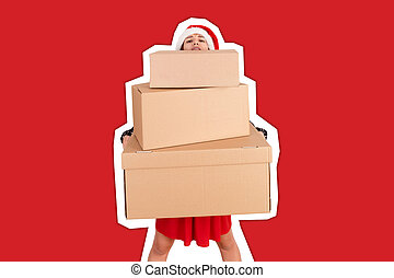 Portrait of a smiling pretty girl holding stack of big carton gift boxes. Magazine collage style with trendy color background. holidays concept