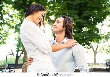 Portrait of a smiling romantic couple hugging