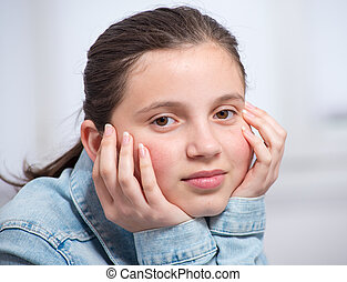 portrait of a smiling teenage girl