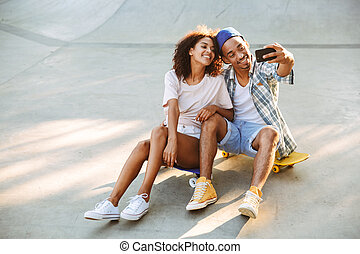 Portrait of a smiling young african couple