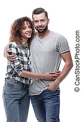 Portrait of a smiling young couple.