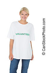 Portrait of a smiling young female volunteer