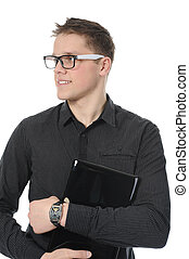 portrait of a smiling young man with laptop