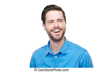 Portrait of a smiling young man with blue shirt
