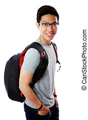 Portrait of a smiling young student with backpack over white background