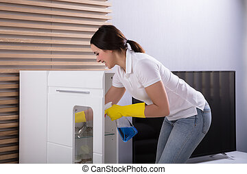 Woman Cleaning Furniture With Spray