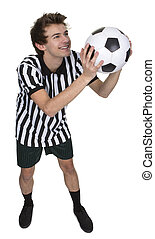 Portrait Of A Soccer Player Holding Football