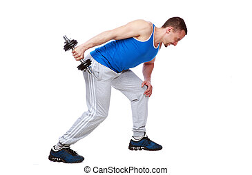 Portrait of a sport man doing exercises with dumbbells over white background
