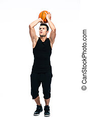 Portrait of a sports man playing in basketball