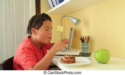 Teenage boy doing his homework and eating cake