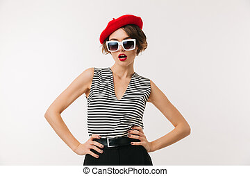 Portrait of a stylish woman wearing red beret