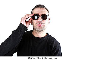 Portrait of a stylish young man over white background