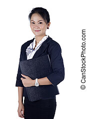 Portrait of a successful business woman holding a folder, looking at camera, isolated on white background.