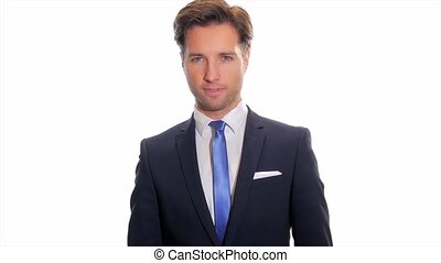 portrait of worried businessman isolated over white background