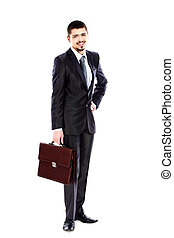 Portrait of a successful young business man carrying a suitcase on white background