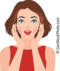 Portrait of a surprised girl - Stock vector illustration...