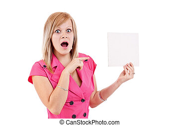 young woman pointing at a blank card