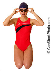 portrait of a swimmer isolated on a white background.