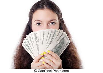 portrait of a teen brunette girl with money