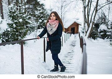 Portrait of a teen girl outdoor an amazing winter.