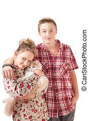 Portrait of a teenage boy and teenage girl