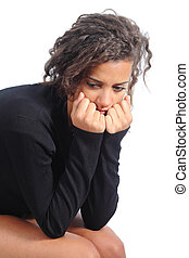 Portrait of a teenager girl depressed isolated on a white...