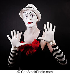 theater actor in makeup funny mime